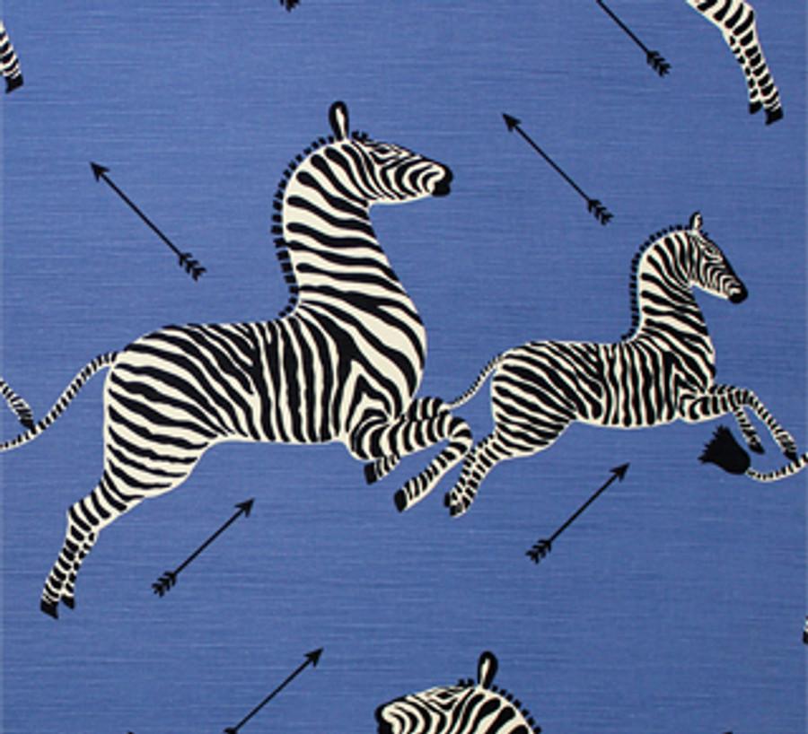 Scalamandre Zebras Denim Blue Comes in Both Cotton/Linen and Indoor/Outdoor Fabric