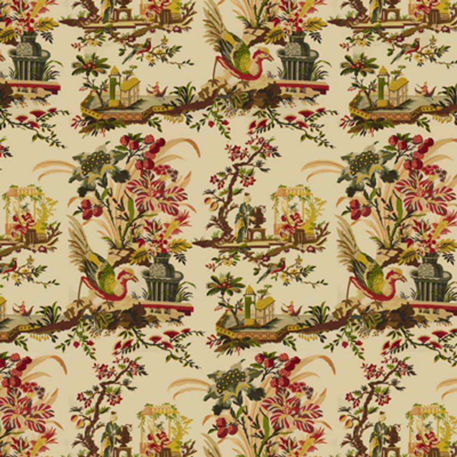 Brunschwig & Fils Le Lac Glazed Chintz Cream BR-71162 015 Double Wide Roman Shade in Piano Room