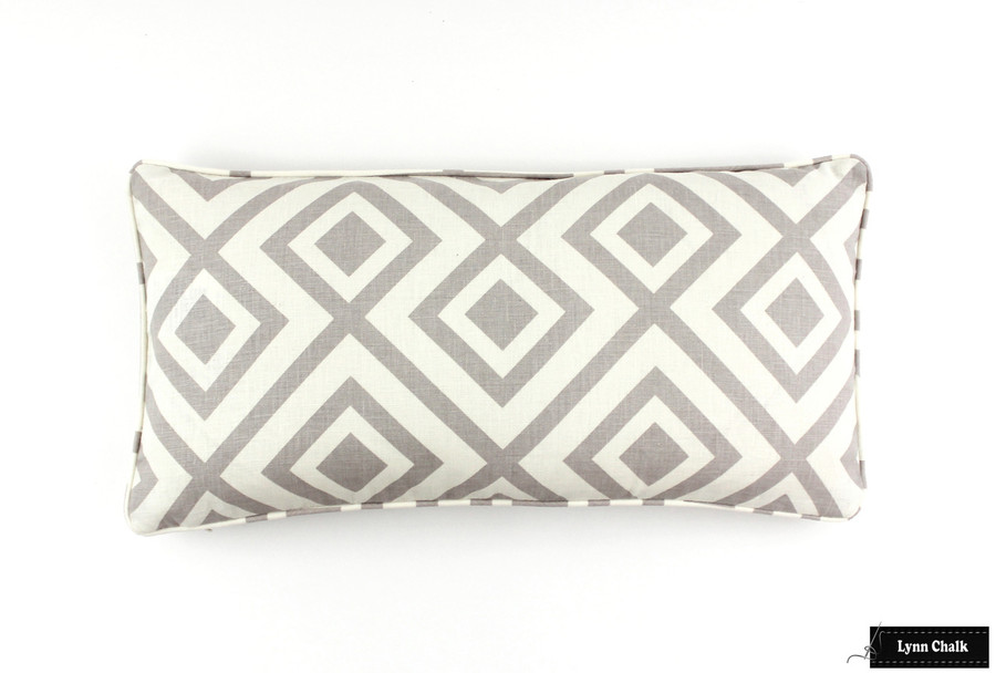 ON SALE 60% Off-David Hicks/Lee Jofa La Fiorentina Pillows on both sides with self welting in Light Grey/Ivory (12 X 24)  Only 1 remaining