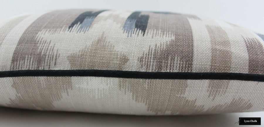 Schumacher Kiribati Ikat Custom Pillows (shown in Linen with Black Welting) 2 Pillow Minimum Order