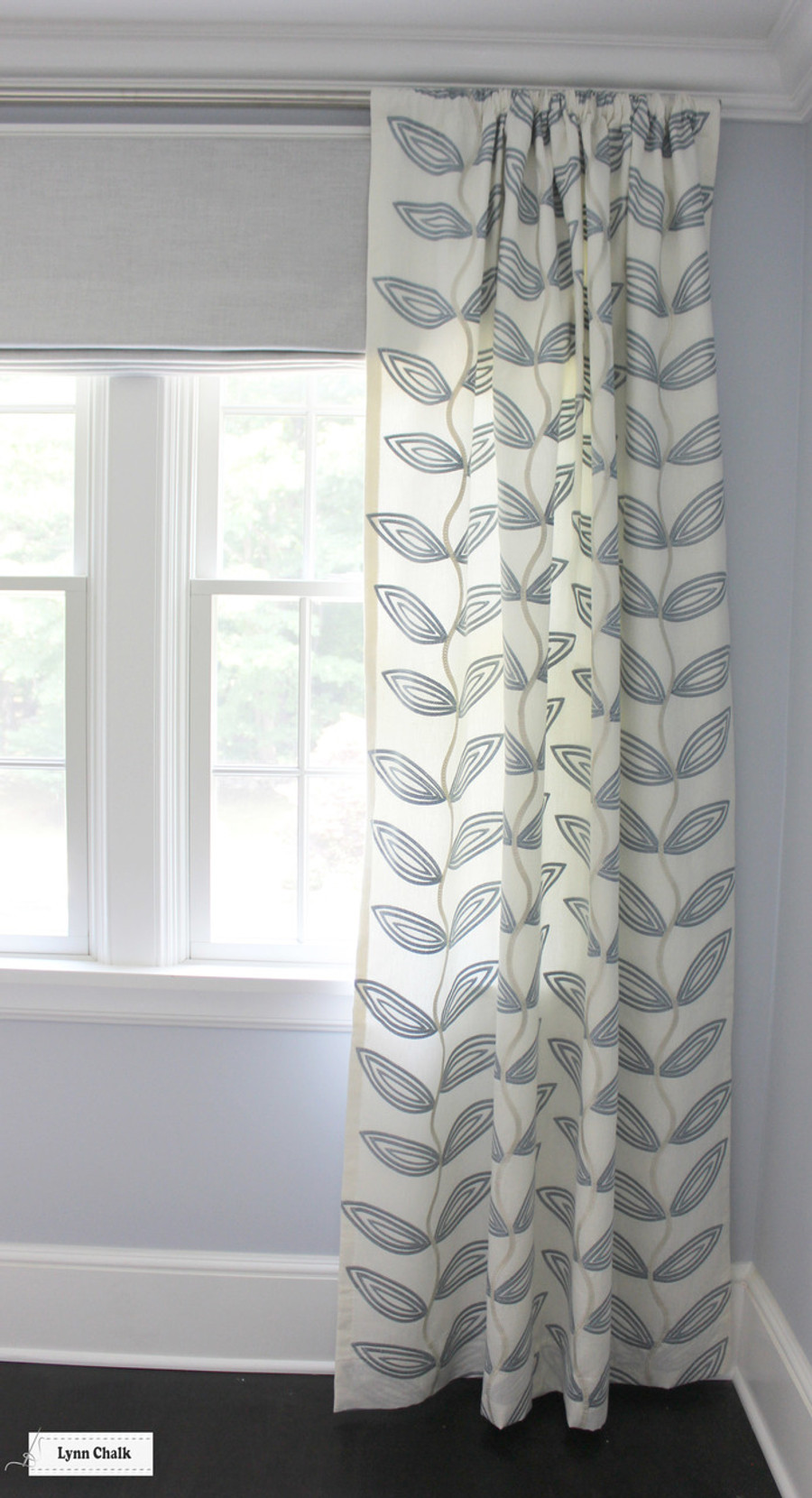 Manuel Canovas Fiesta Ceil Drapes with Roman Shades in Holly Hunt Clear The Air Slate