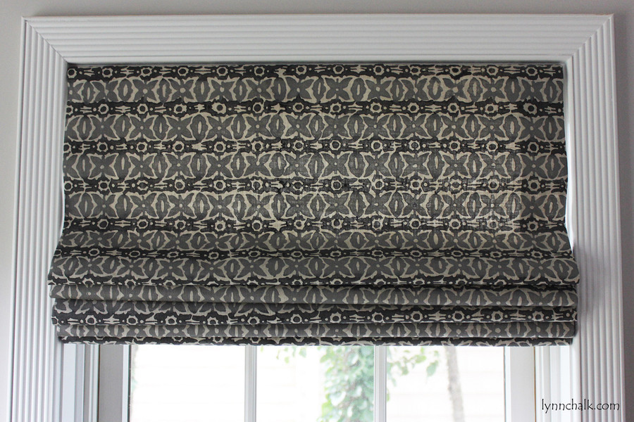 Galbraith & Paul Monarch Custom Kitchen Roman Shade (Shown in Cadet on Natural Linen)