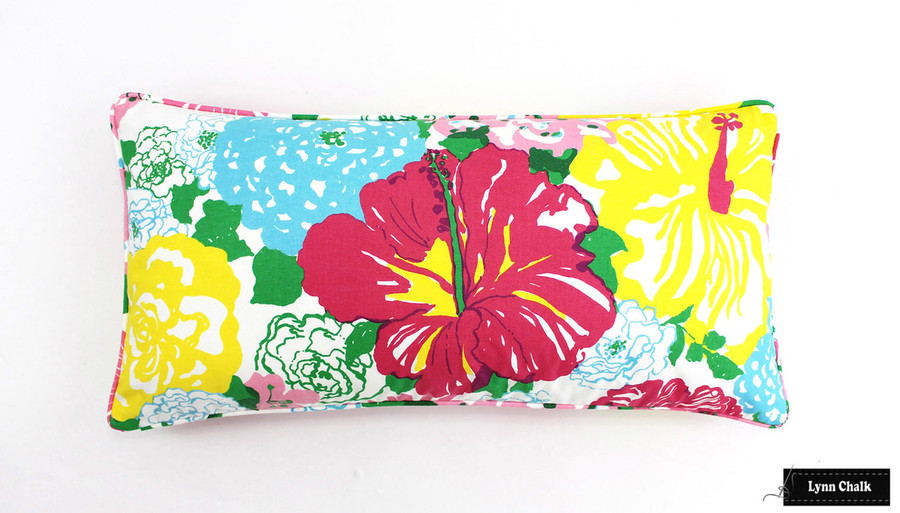 Lilly Pulitzer Heritage Floral Multi Pillow with self welting (12 X 24)