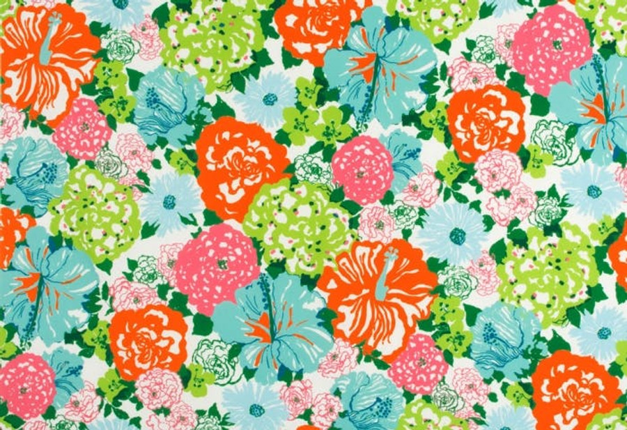 2016103_512 Lilly Pulitzer Heritage Floral II Aqua Orange Indoor Outdoor Fabric