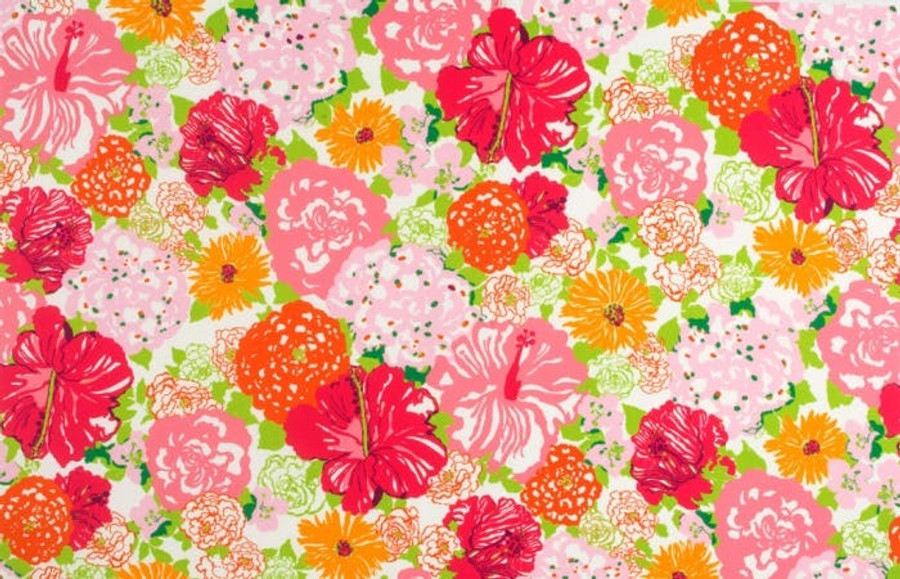 2016103_97 Lilly Pulitzer Heritage Floral II Salmon Pink Indoor Outdoor Fabric