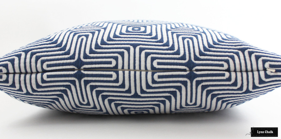 ON SALE 50% Off - Trina Turk Amazing Maze Indoor/Outdoor for Schumacher Pillows in Ocean - (Both Sides-22 X 22) Made To Order