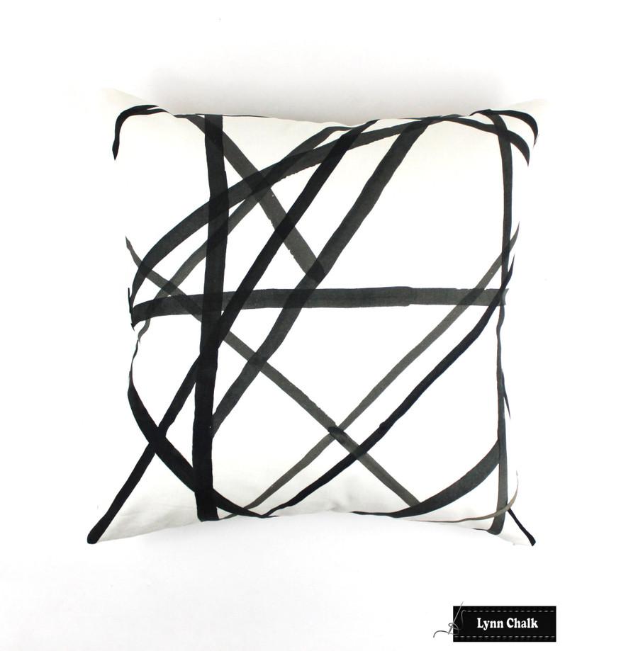 Custom Pillows in Kelly Wearstler Channels in Ebony/Ivory.