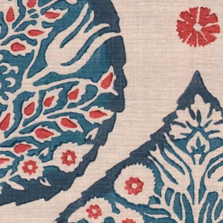 Lotus in Lapis on Natural Linen