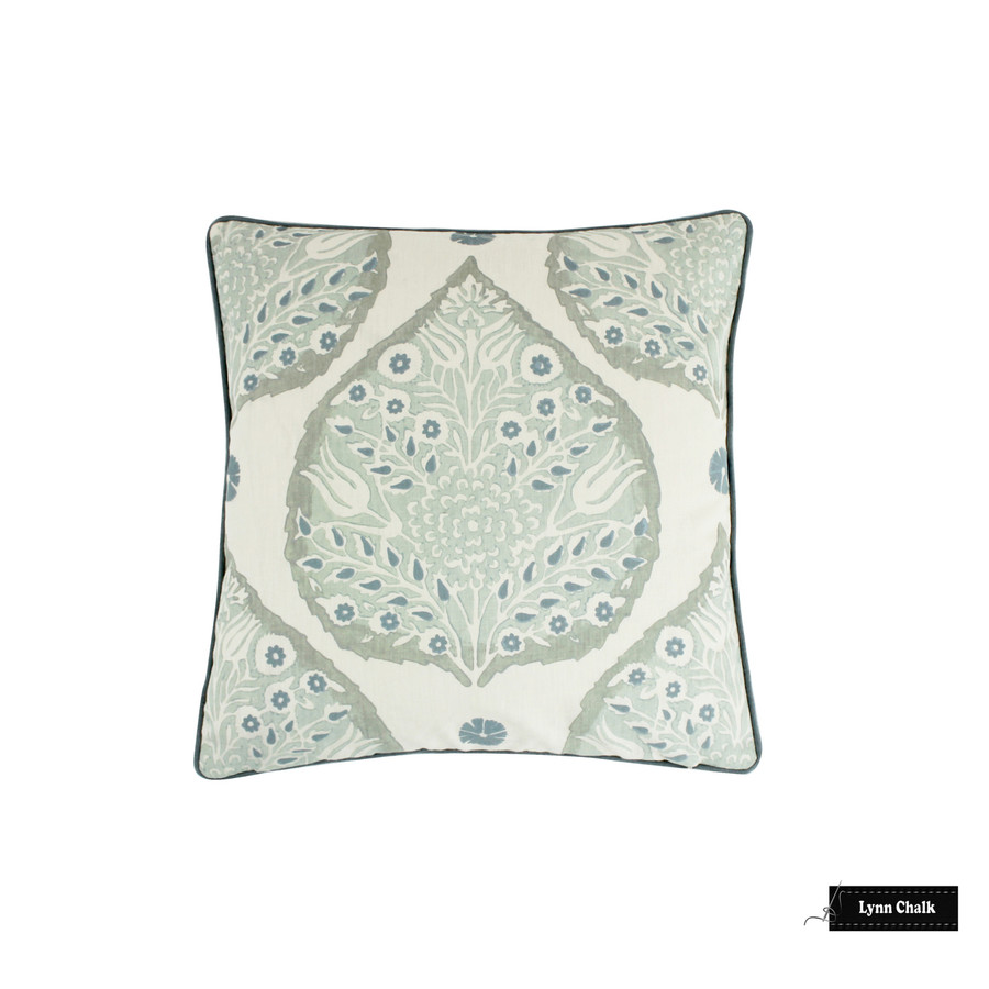 Galbraith & Paul Lotus Mineral on Cream 20 X 20 Pillow with Kravet Dublin Linen Seamist Welting
