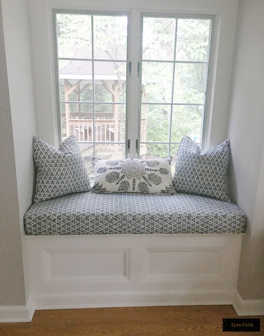 Quadrille Volpi Slate Navy and Persepolis Cream Brown Navy Pillows and Cushion