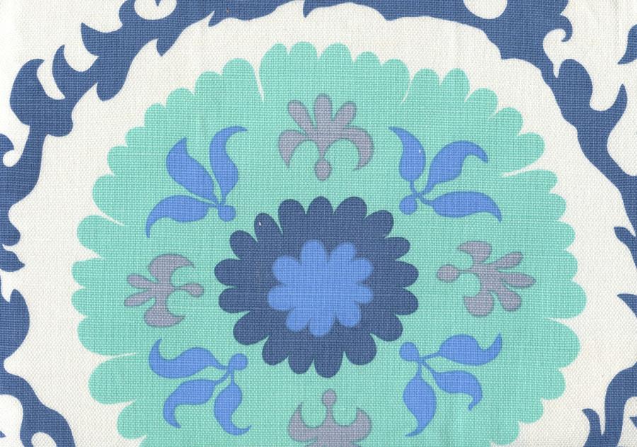 Quadrille Suzani Blues on White Royal Aqua French Blue and Zibby Blue 010226F