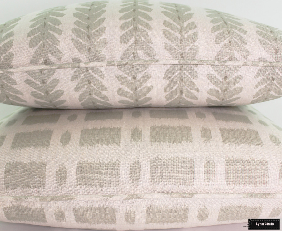 Schumacher Woodperry and Townline Road in Sage Pillows