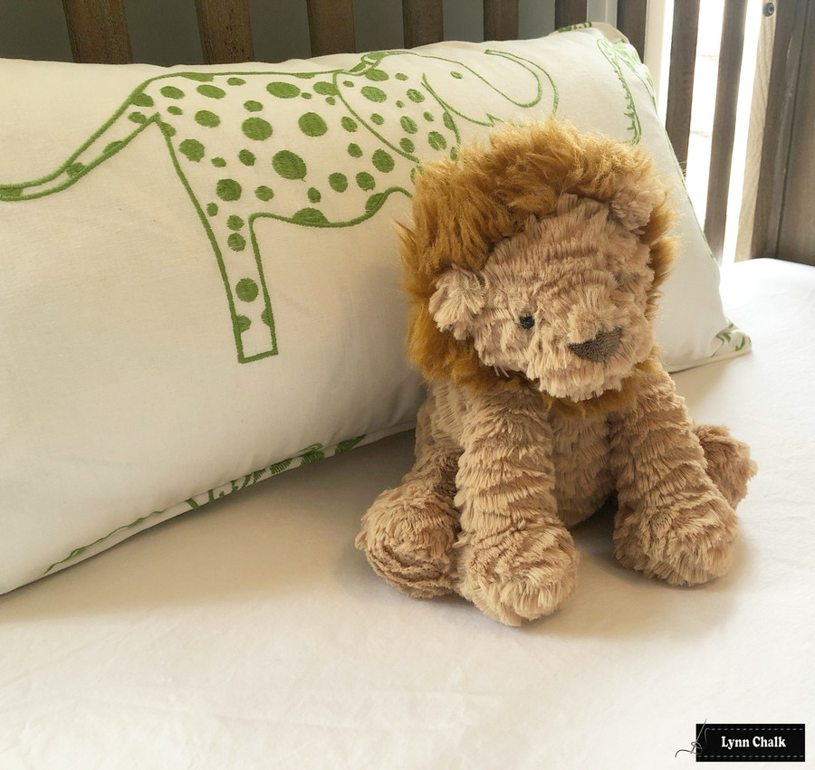 Lumbar Pillow in Jungle Jubilee Leaf Green with self welting