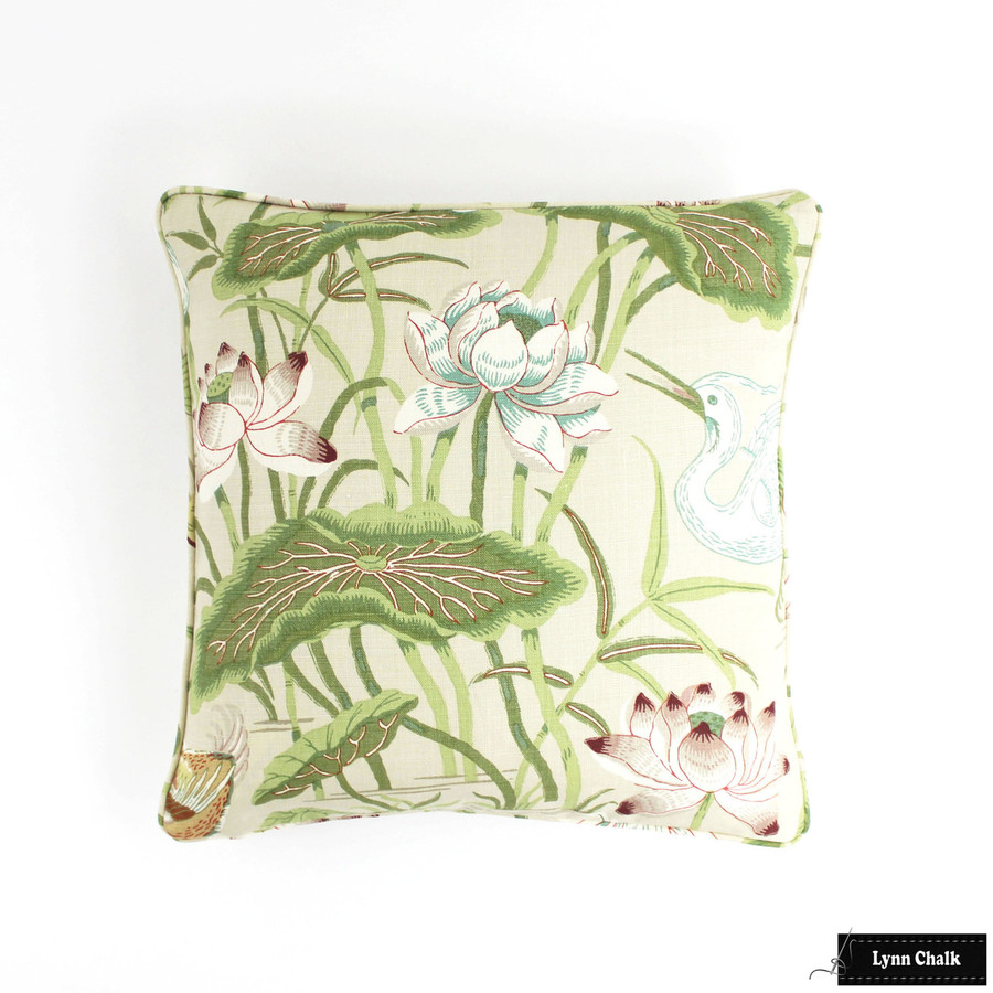 Schumacher Lotus Garden Parchment Pillow 20 X 20