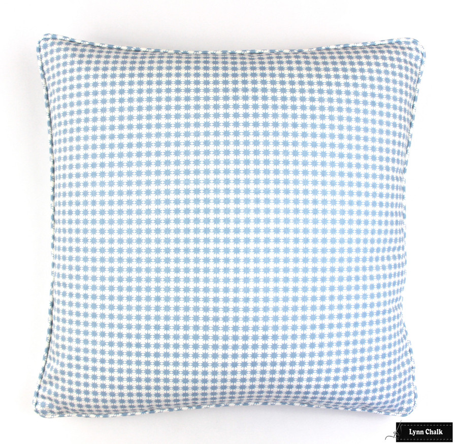 Schumacher Stella in Cotton Chambray Pillow with Welting