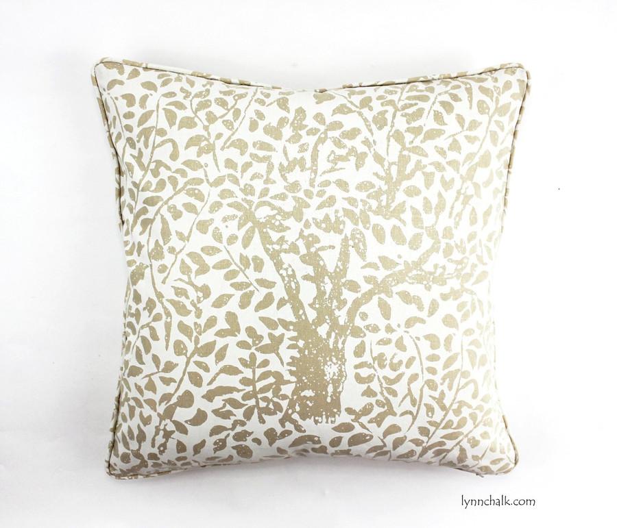 Custom Pillow by Lynn Chalk in Arbre De Matisse Reverse Ecru on Tint with self welting (20 X 20)