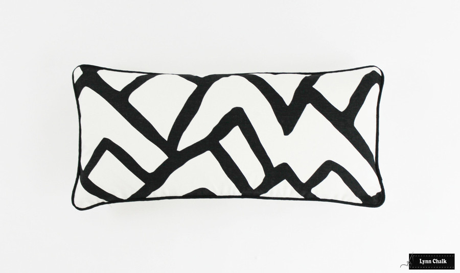 Zimba Pillow in Ebony with Black Welting (12 X 24)