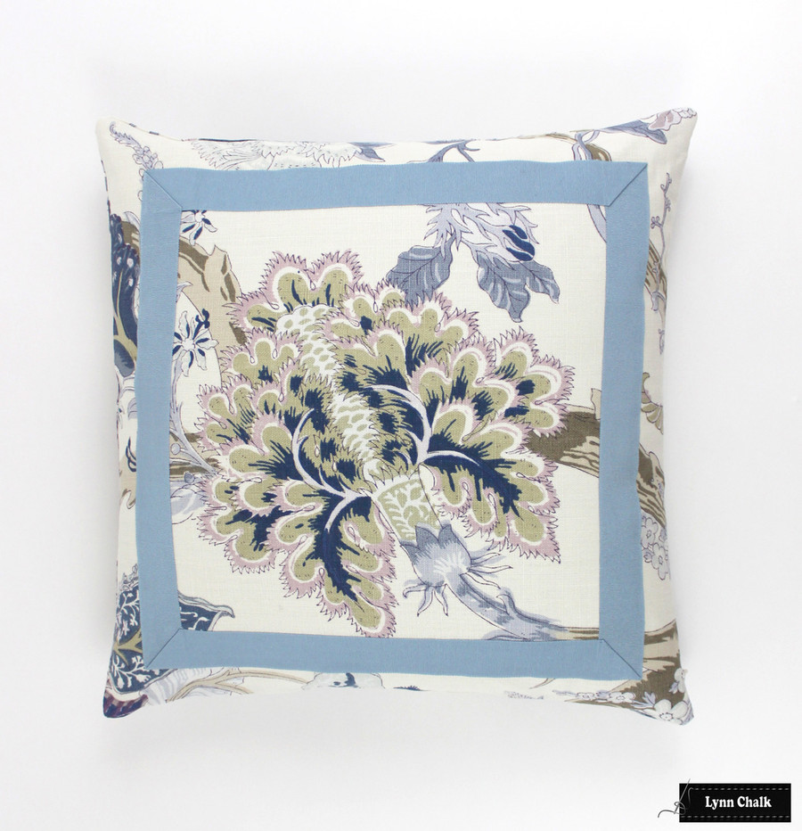 Schumacher Indian Arbre Hyacinth Pillow with Azure Tape Trim