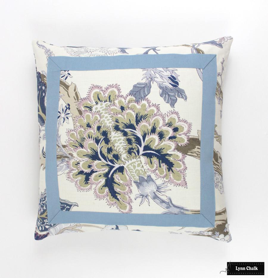 Schumacher Indian Arbre Hyacinth Pillow with Azure Tape Trim