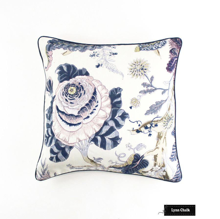 Schumacher Indian Arbre Hyacinth Pillow with Navy Welting (24 X 24)
