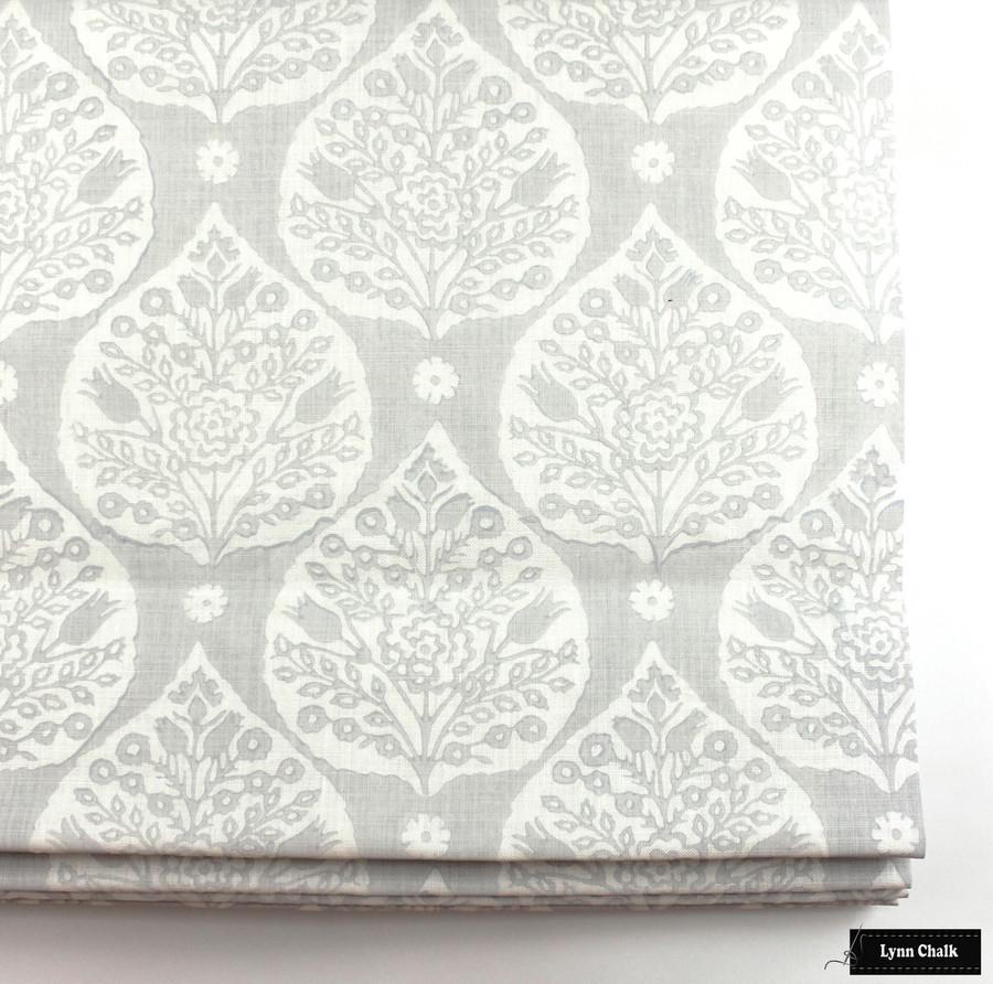 On Sale 65% Off-Galbraith & Paul Little Lotus Pillow in Light Vapor on Logan White with White Linen Back (22 X 22)