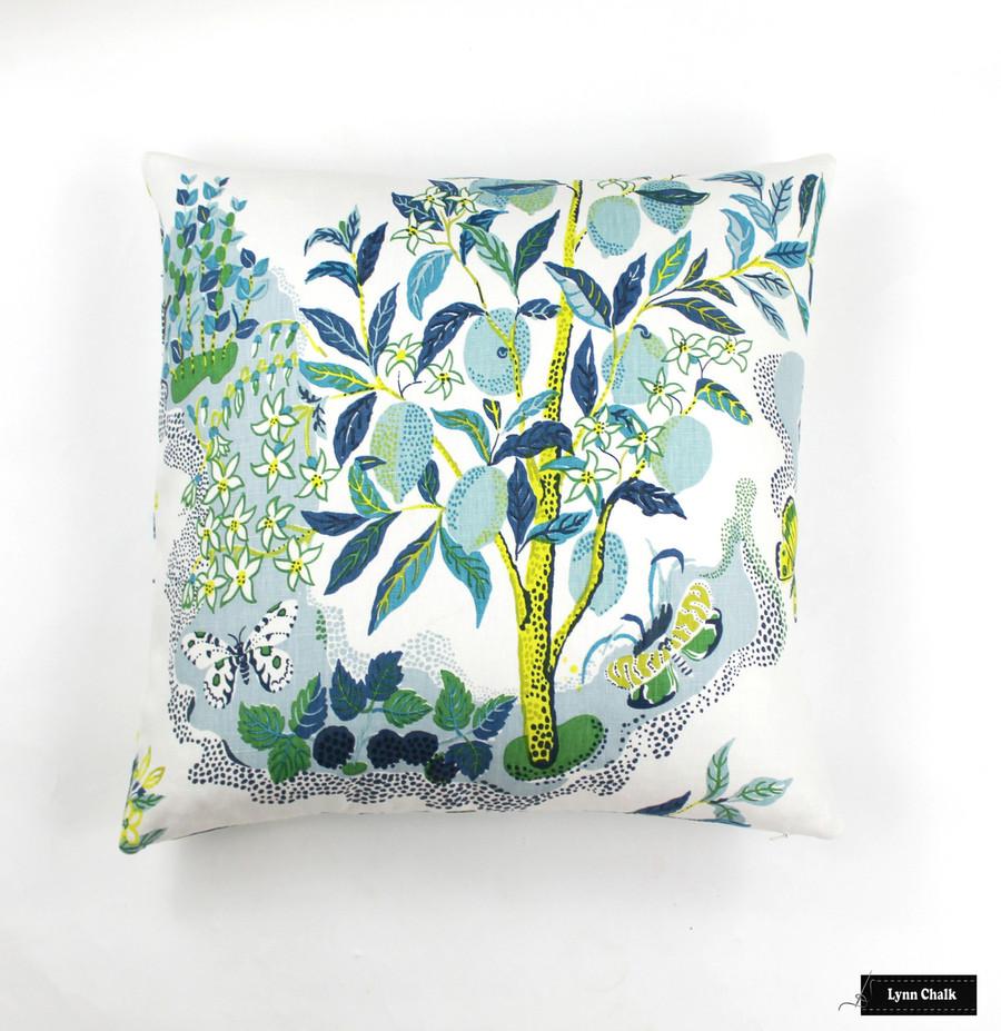 Custom Knife Edge Pillow In Citrus Garden Pool  (22 X 22)