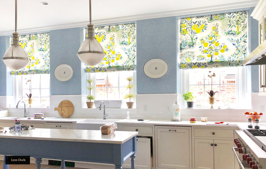 Schumacher Citrus Garden Custom Kitchen Roman Shades (shown in Pool-also comes in Lime and Primary)