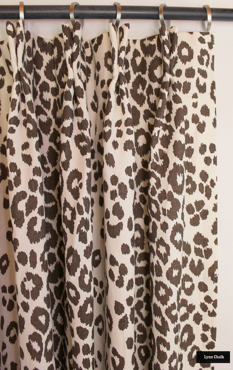 Custom Drapes in Schumacher Iconic Leopard in Brown