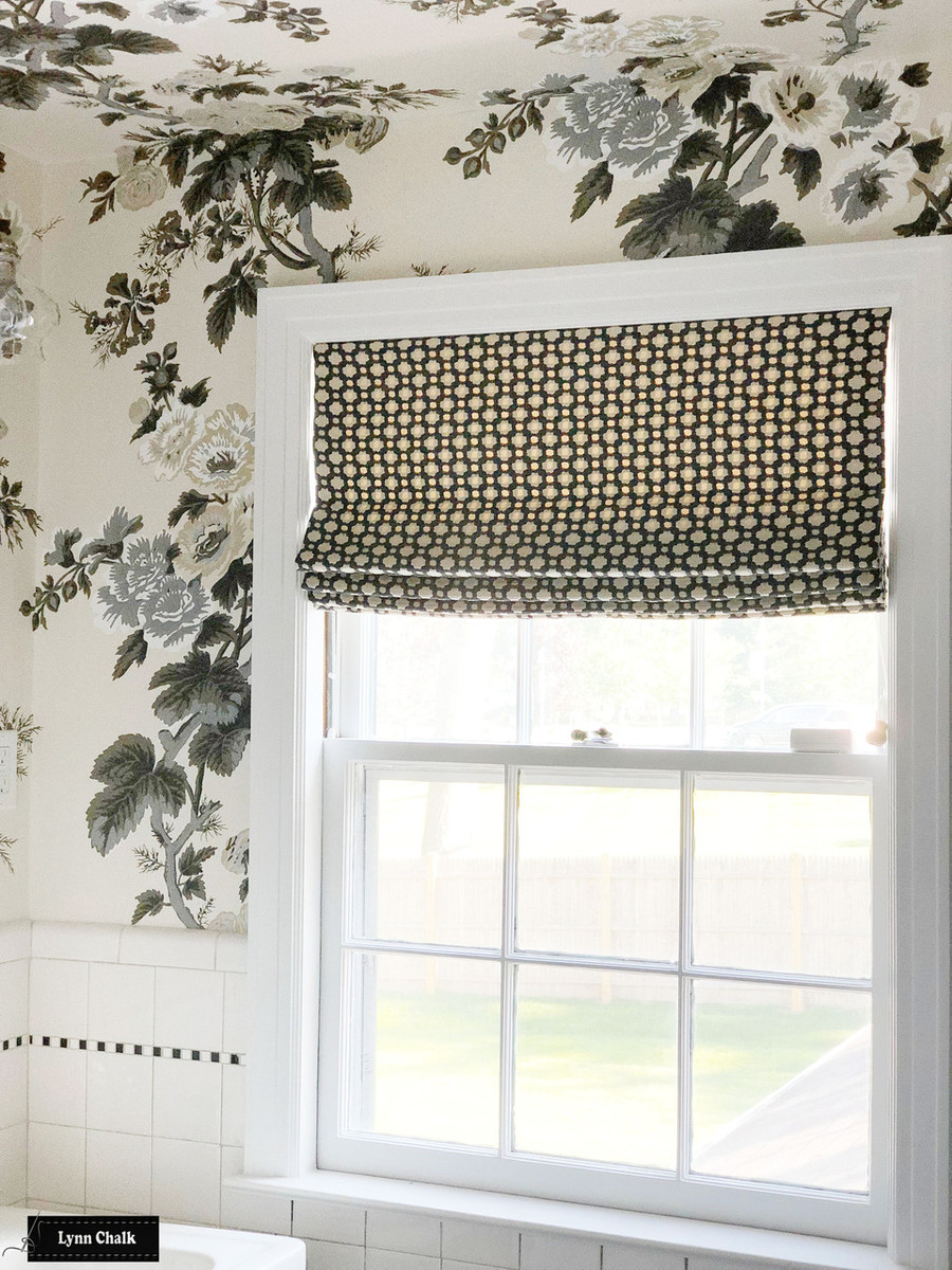 Roman Shade in Betwixt Charcoal/Ecru.  Schumacher Pyne Hollyhock Wallpaper.