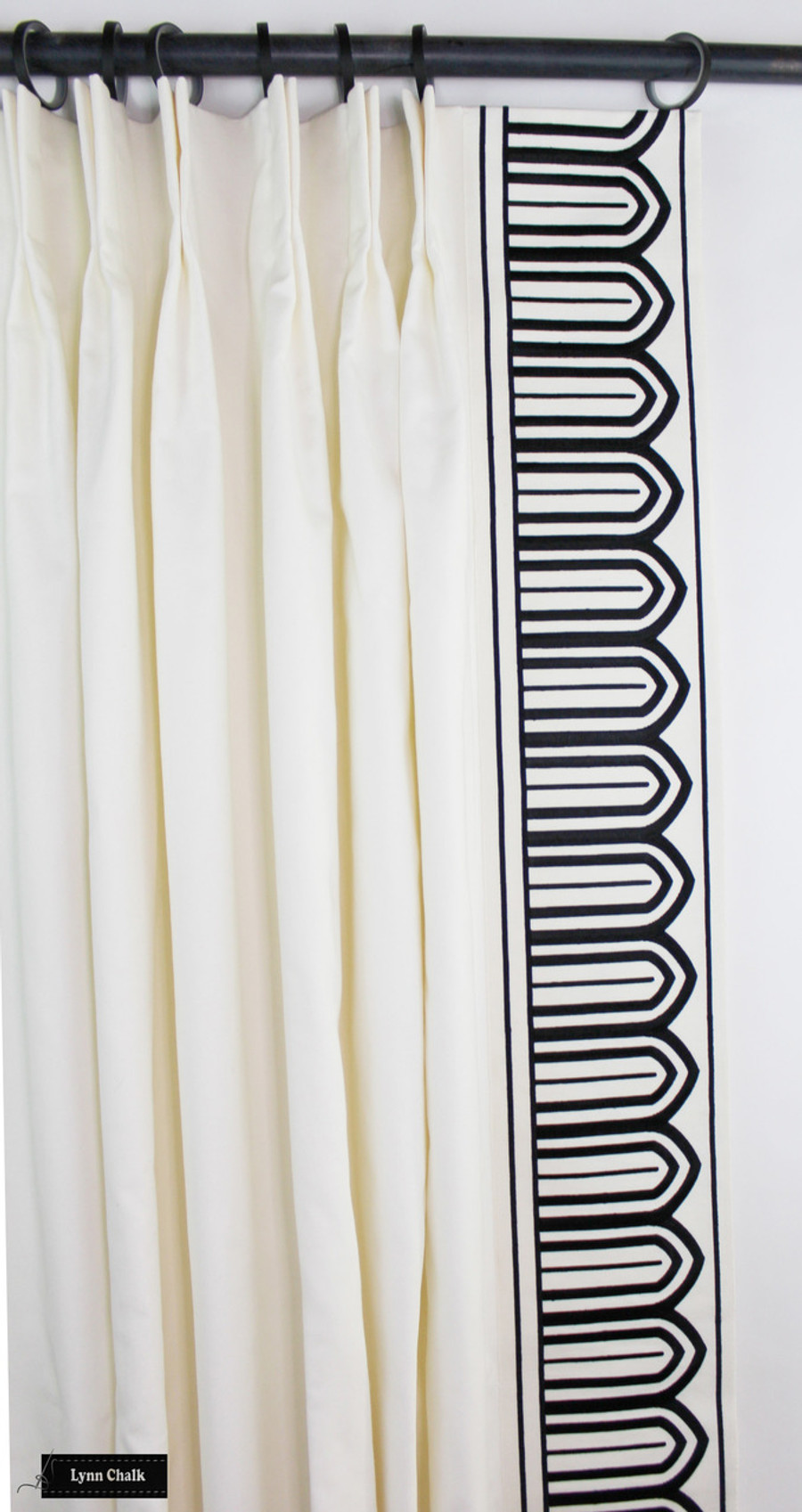 Custom Drapes in Schumacher Elliott in Cream 69492 with Arches 6 Inch Wide Trim Black on White 70770