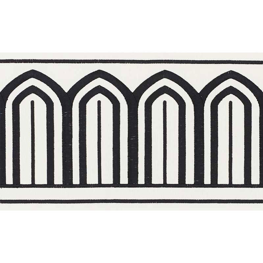 Schumacher Arches Trim Black on Off White 70770