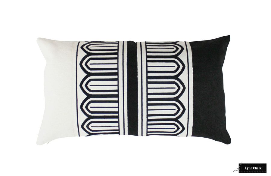 Schumacher Arches Embroidered Tape Pillow in Black and Off White (14 X 24)