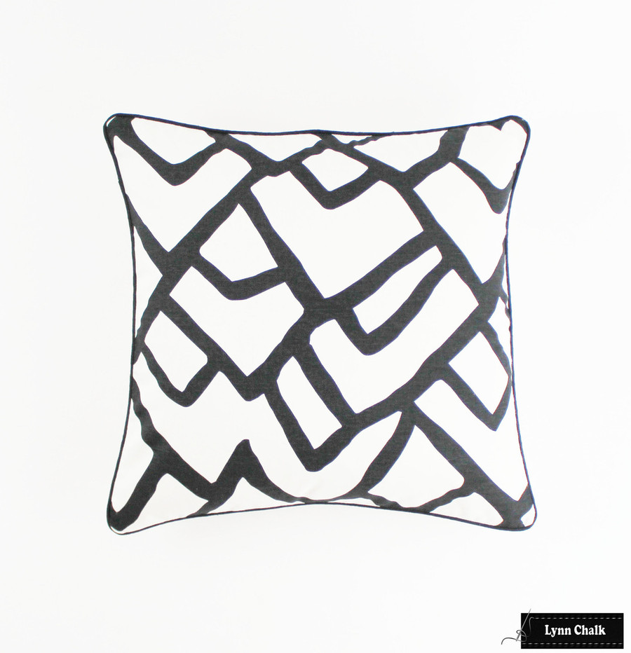 ON SALE 50% Off - Schumacher Zimba in Ebony Pillow with Black Welting (Both Sides - 18 X 18) Made To Order