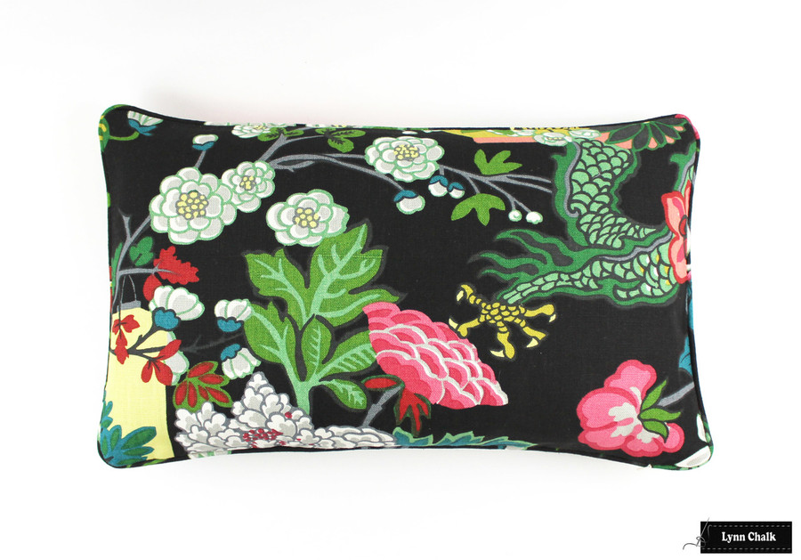 Schumacher Chiang Mai Dragon Pillow with Welting in Ebony (Both Sides - 14 X 24) 2 Pillow Minimum Order