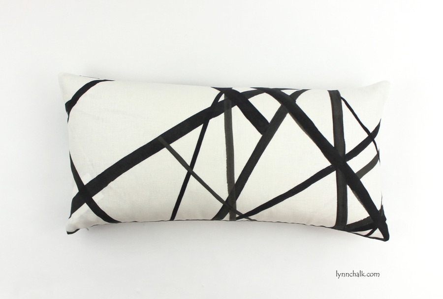 ON SALE 50% OFF Kelly Wearstler Channels Ebony/Ivory Pillows (Both Sides-12 X 24)