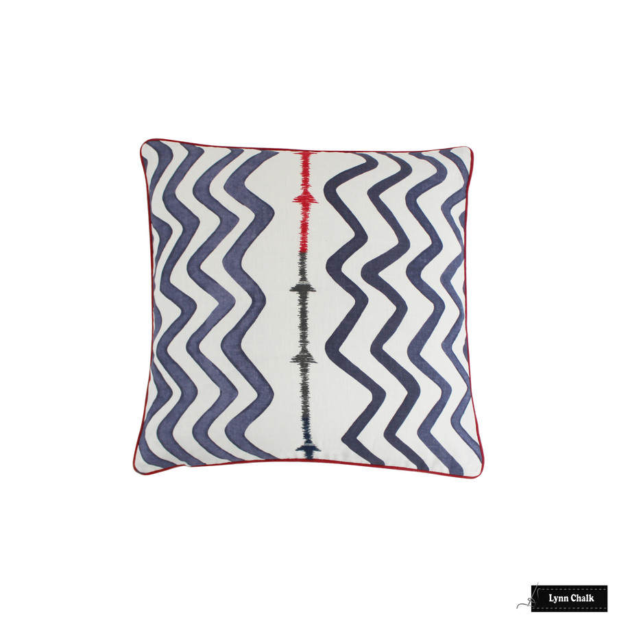 Christopher Farr Rick Rack Pillows in Indigo with Red Welting/Piping (22 X 22)