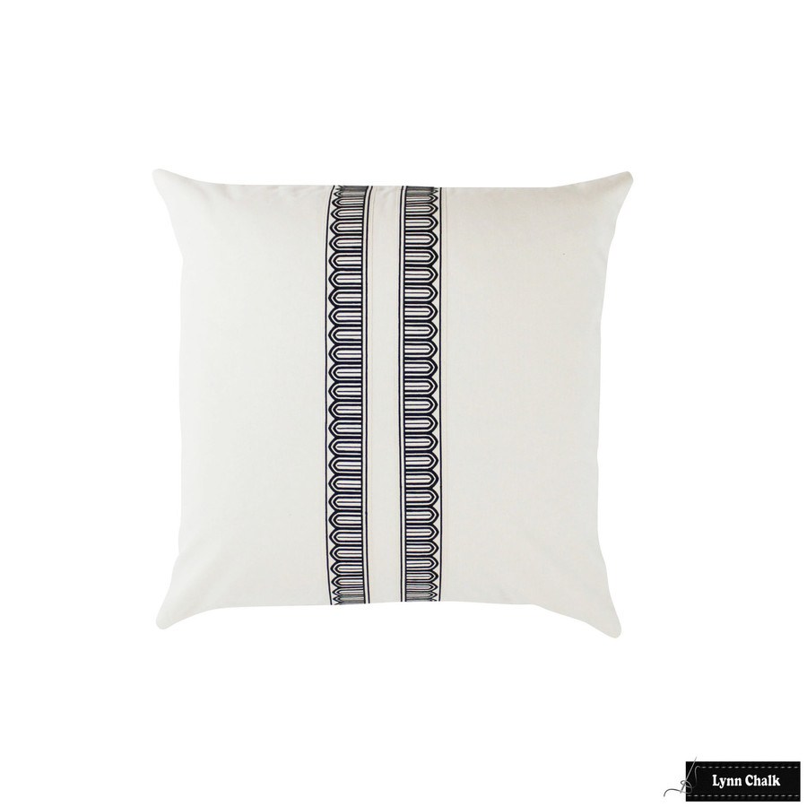 Schumacher Arches Narrow Trim Black and Off White Linen 24 X 24 Pillow