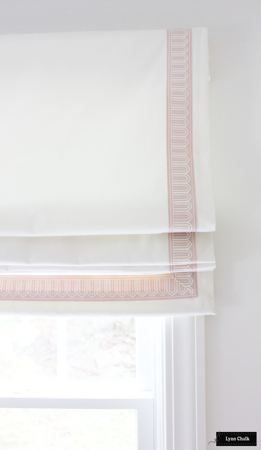 "Schumacher Arches Embroidered Tape Custom Roman Shades (shown in Black/Off White 2 1/8"" Wide-comes in several colors)"