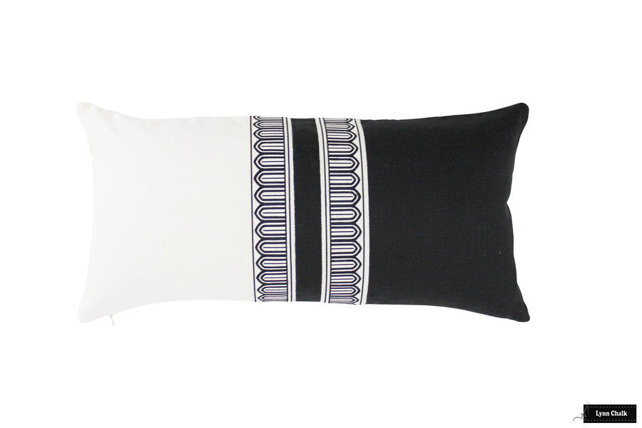 Schumacher Arches Narrow Trim Black and Off White on Black and Off White Linen Pillow 12 X 24