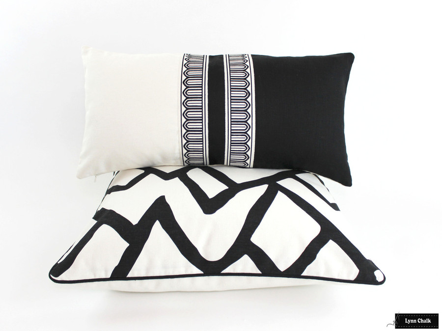 Schumacher Zimba Ebony Pillow with Black Welting and Schumacher Arches Trim Black White Pillow