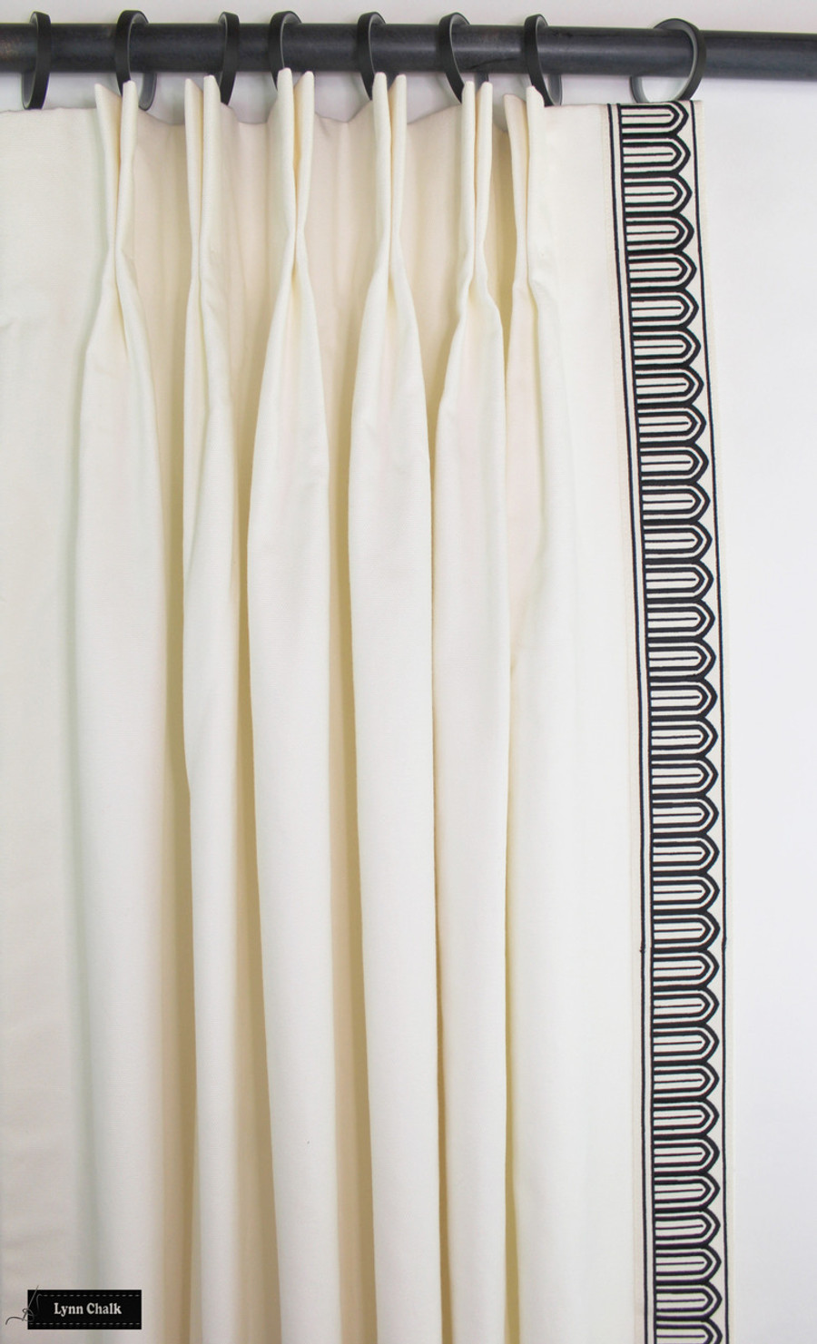 Custom Drapes in Schumacher Elliott in Cream 69492 with Schumacher Arches Trim Black on White 70760