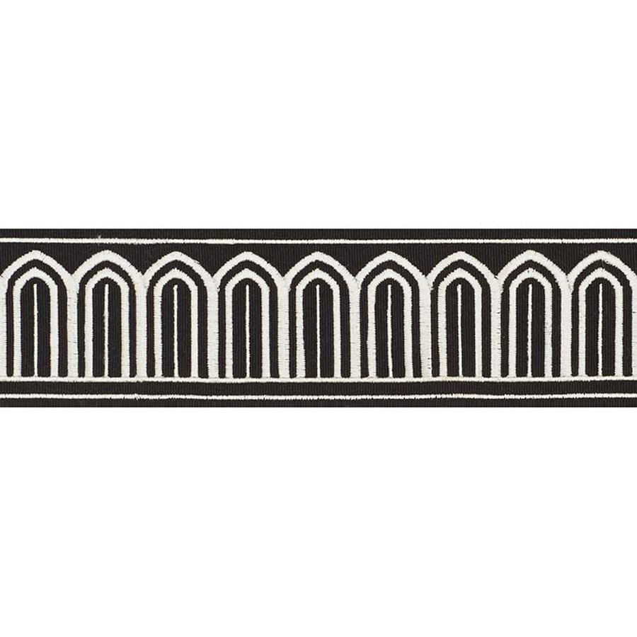 Schumacher Arches Trim White on Black 70766