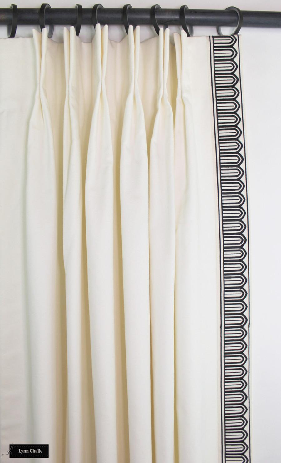 Custom Drapes in Schumacher Elliott in Cream 69492 with Schumacher Arches Trim Black on White 70760