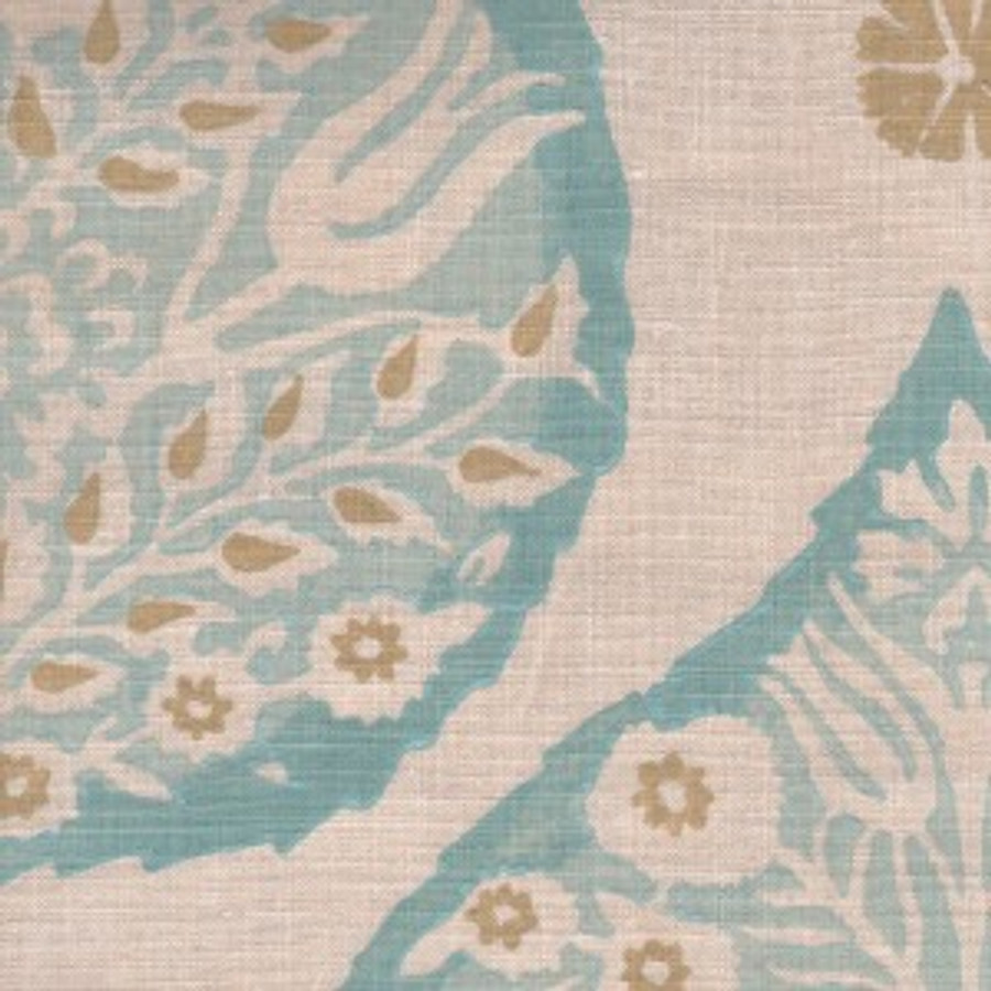 Lotus in Aqua on Natural Linen