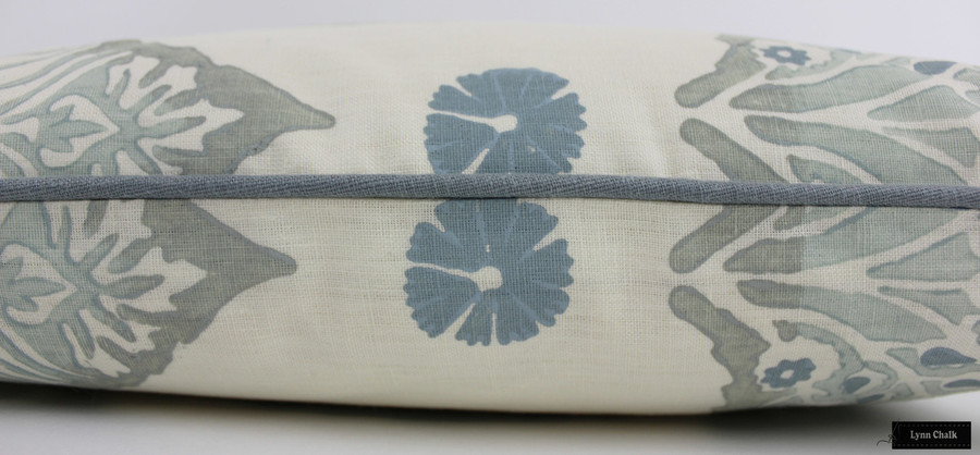 Galbraith & Paul Lotus Pillow Mineral on Cream with Kravet Dublin Linen Seamist Welting