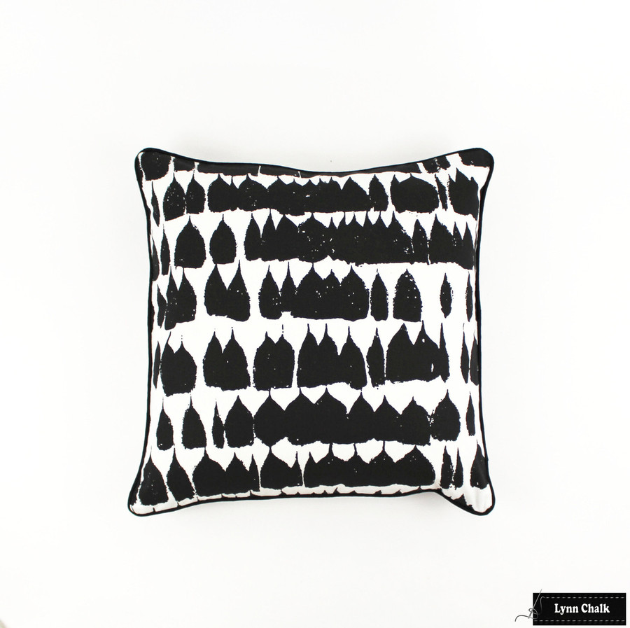 ON SALE 50% Off-Schumacher Queen of Spain Black Pillows with Black Welting (Both Sides-Made To Order)