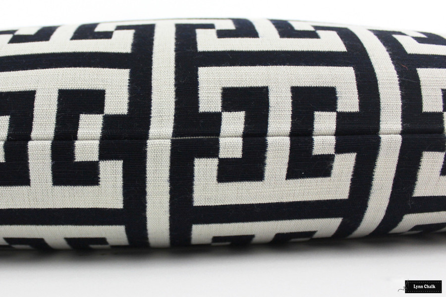 ON SALE 50% Off-Indoor/Outdoor Pillows in Holly Hunt Insignia Cream/Midnight Navy 124/04 (Both Sides - 14 X 24 - Made To Order)