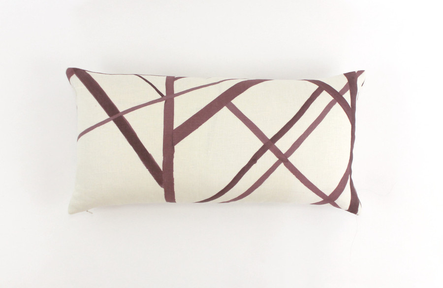 ON SALE 50% Off - Kelly Wearstler for Lee Jofa Channels Pillow in Plum Oatmeal (Both Sides -12 X 20) Made To Order