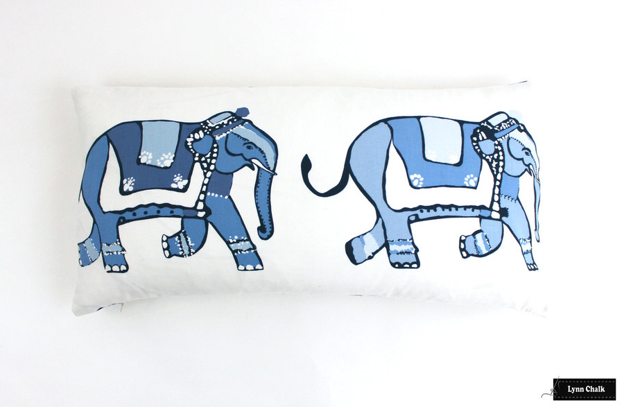 Lulu DK for Schumacher Parade Pillows with Navy Welting (14 X 36)