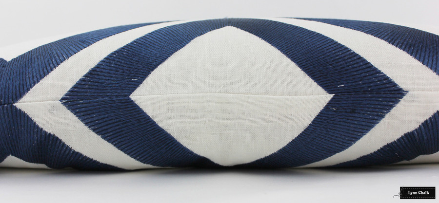 On Sale 50% Off - Brunschwig & Fils/Lee Jofa Lightning Bolt Embroidered Pillow in Indigo (14 X 24) Made To Order